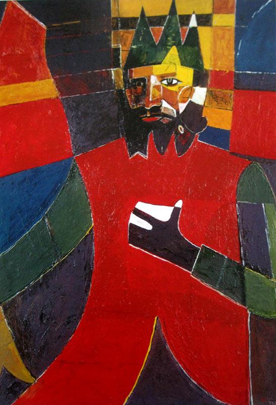 Աշոտ Հովհաննիսյան, Ինքնանկար հին թագով,  1980-1985, կտավ,յուղաներկ, 130x93սմ