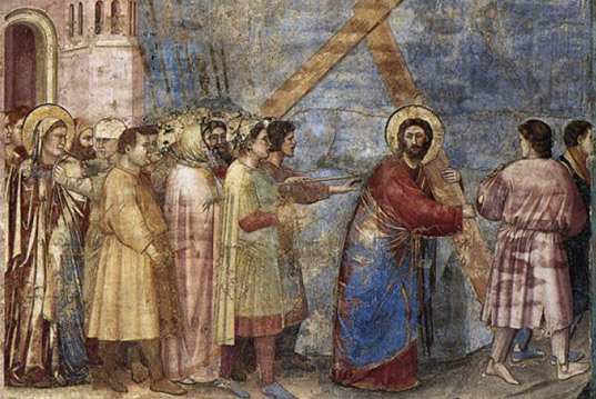 "The iconography  of the scene  ""Carrying of the Cross"""